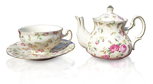 Elizabeth Park Floral Rose Chintz Tea for One Porcelain Cup, Teapot and Saucer Set