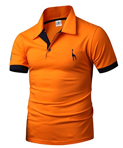HARRISON83 Mens Short Sleeve Button Placket Golf Tennis Polo (Tennis Button)