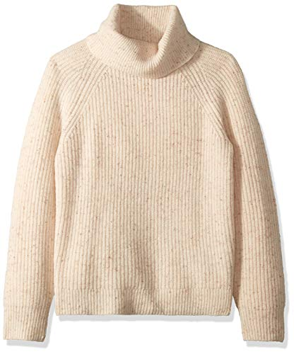 J.Crew Mercantile Women's Chunky Knit Turtleneck Sweater, Ivory Donegal, S