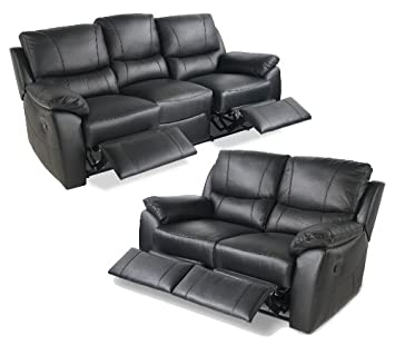 Leather Recliner Sofa Suite 3 2 Seater Black Free Delivery Amazon
