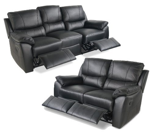 Leather Recliner Sofa Suite 3 + 2 Seater Black Free Delivery: Amazon.co.uk:  Kitchen U0026 Home