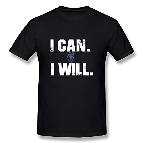 "YIRONG Men's Roman Reigns ""I Can I Will"" Logo T-shirt Size S"