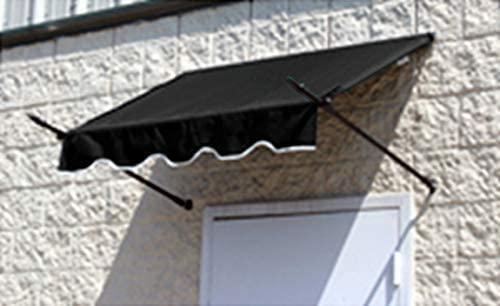 Window Awning or Door Canopy with Spear Supports 4 Wide in Sunbrella Fabric – Black