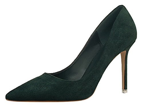 T&Mates Womens Fashion Pointed Toe Pumps High Heel Stilettos Versatile Slip On Suede Dress Shoes (6 B(M) - Fashion Locations Metro