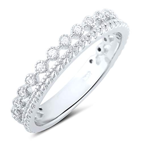 Sterling Silver Double Row Cz Eternity Ring - Size 4