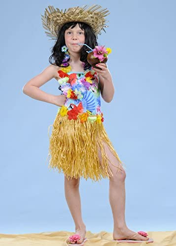 Niños tamaño falda hawaiana paja de la hierba: Amazon.es: Juguetes ...