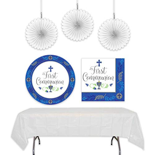 First Holy Communion Decorations and Party Supplies Kit Includes Plates, Napkins, White Tablecloth, and Hanging Decorations for Up to 16 Guests | 60 Piece Bundle Set (Blue, Boys)