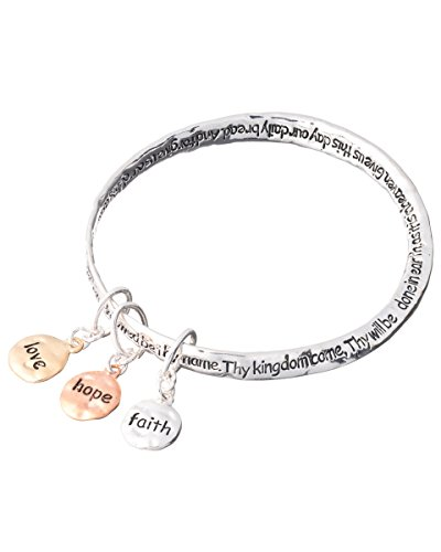 Jewelry Nexus Lord's Prayer Faith Hope Love Charm Twist Bangle Inspirational Heavenly Father Bracelet