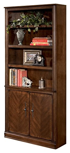 - Ashley Furniture Signature Design - Hamlyn Large Door Bookcase - 3 Adjustable Shelves/2 Cabinets - Traditional - Medium Brown Finish