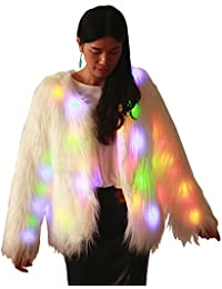 Soft Faux Fur Led Jacket Light Up Winter Coat with Hood for Halloween Xmas Party Costume