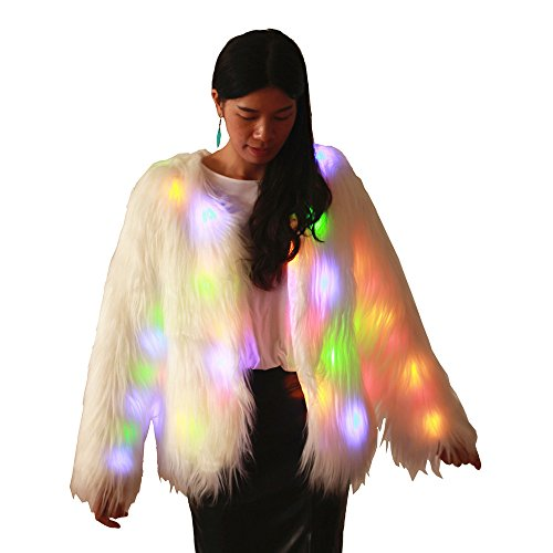 Soft Faux Fur Led Jacket Light Up Long Sleeve Bolero Tippet Halloween Xmas Party Costume (XXL=US XL, Long Fur -