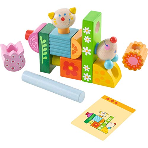 HABA Cat and Mouse Brain Builder Peg Set - with 14 Whimsical Wooden Stacking Elements and 20 Pattern Cards Featuring 3 Levels of Difficulty for Ages 2+