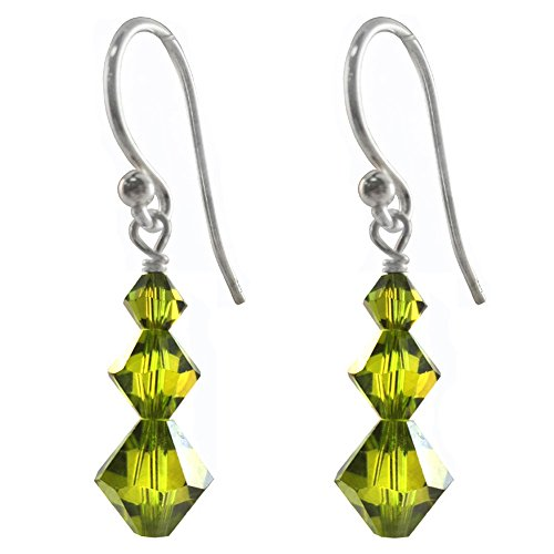 Earrings Made with Swarovski Crystal Elements Olivine Colored 3 Bicones, Shepherd-hook