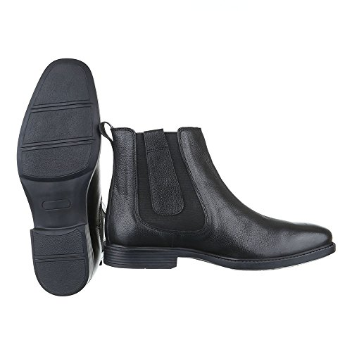 Stiefeletten Herren Leder Schuhe Chelsea Boots Blockabsatz Chelsea Ital-Design Boots Schwarz