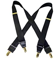 "Hold-Ups 1 1/2"" All Black Casual Series Suspenders in X-back Gold No-slip Clips"