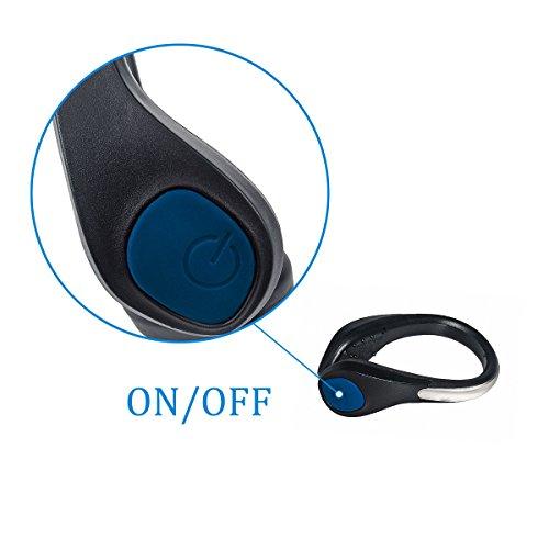 TEQIN Black Shell Blue LED Flash Shoe Safety Clip Lights for Runners & Night Running Gear - Reflective Running Gear for Running, Jogging, Walking, Spinning or Biking + Velvet Bag - (Set of 2) by TEQIN (Image #6)