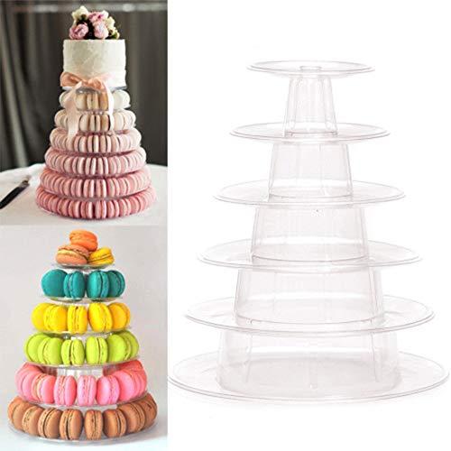 Hofumix 6 Tiers Round Macaron Tower Dessert Tower Stand Wedding Birthday Display Cake Display Rack for Wedding Birthday Party -