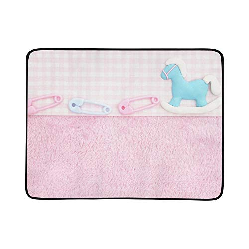 Old Fashion Pink Baby Baby Portable and Foldable Blanket Mat 60x78 Inch Handy Mat for Camping Picnic Beach Indoor Outdoor Travel