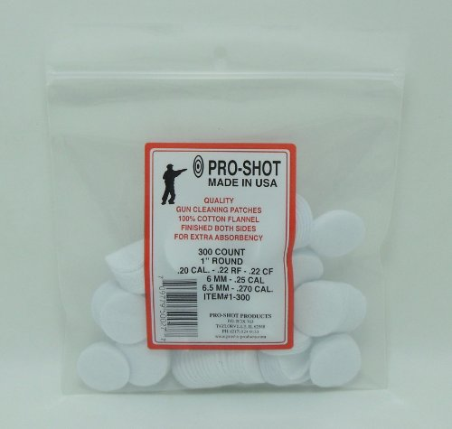 Pro-Shot .22-270 Caliber 1-Inch RD. 300 Count Patches