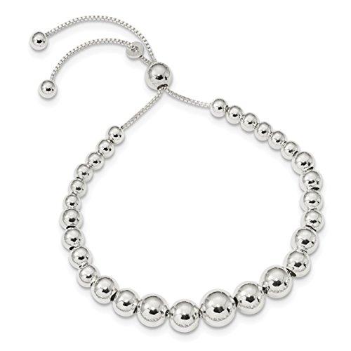 (925 Sterling Silver Graduated Beads Adjustable Bracelet)