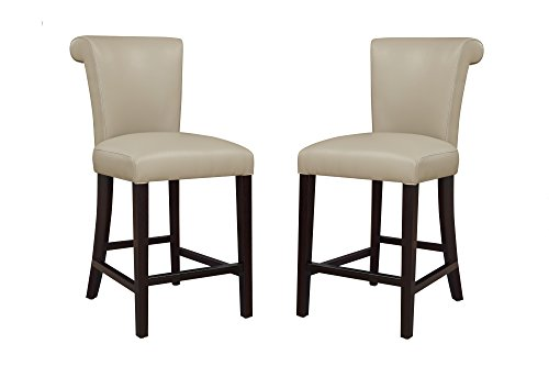 Emerald Home Furnishings Briar III Wheat Grass 24'' Bar Stool with Faux Leather Upholstery Set of Two
