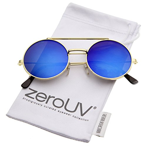zeroUV - Mid Size Flip-Up Colored Mirror Lens Round Django Sunglasses 49mm (Gold / Blue - Round Flip Up Glasses