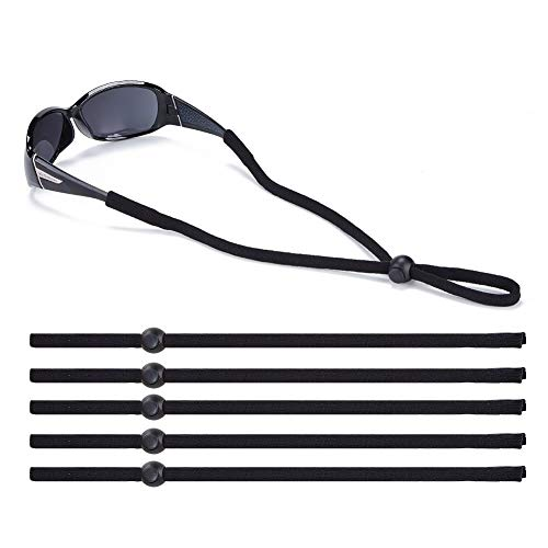 Shinkoda Sunglass Straps Black Glasses Strap for Men Women Kids Sports, Eye Glasses String Holder, Adjustable Eyewear Retainer Eyeglass Holders Around Neck, Glasses Lanyard Value Pack of 5