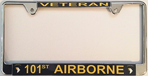 101st Airborne Veteran Thin Top Chrome License Plate Frame