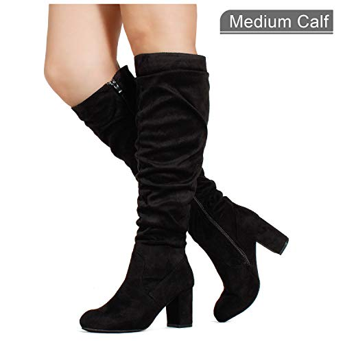 RF ROOM OF FASHION Women's Medium Calf Chunky Heel Slouchy Knee High Dress Boots Black SU (8)