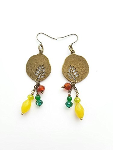 MIX LONG DROP FRETWORK LEAF COIN EARRING WITH YELLOW JADE AND BEADS