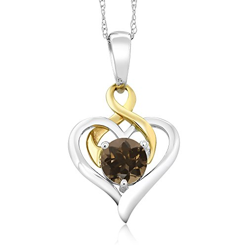 10K Two-Tone Gold 0.46 Ct Round Brown Smoky Quartz Heart Pendant With Chain (0.46 Ct Heart)