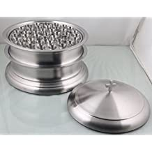 Holy Communion Tray set of 2 with Lid and Base- Stainless Steel- Church Product