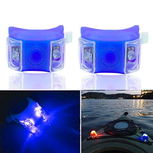 Botepon 2Pcs Boat Kayak Navigaton Light Safety Light Led Skateboard Light with 3 Modes for Riding Sailing Runing Climbing Blue