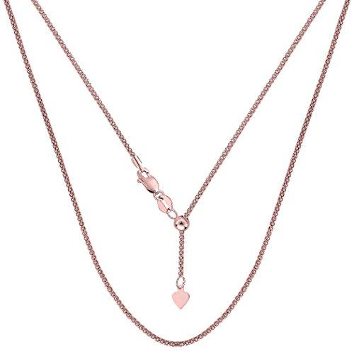 14k Rose Gold Adjustable Popcorn Link Chain Necklace, 1.3mm, 22