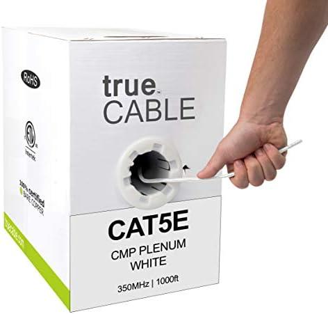 UTP Solid Bare Copper 1000ft White UL Listed USA Made Cable White Color Cat5e Plenum CMP