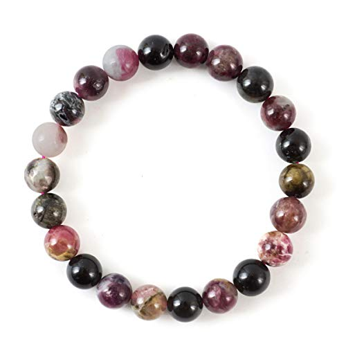 Watermelon Tourmaline Gemstone Bracelet 7.5 inch Stretchy Chakra Gems Stones Healing Crystal Great Gifts (Unisex) ()