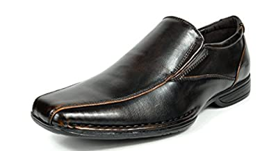 Bruno MARC GIORGIO Men's Classic Square Toe Leather Lined Stretch Insert Slip On Dress Loafers Shoes