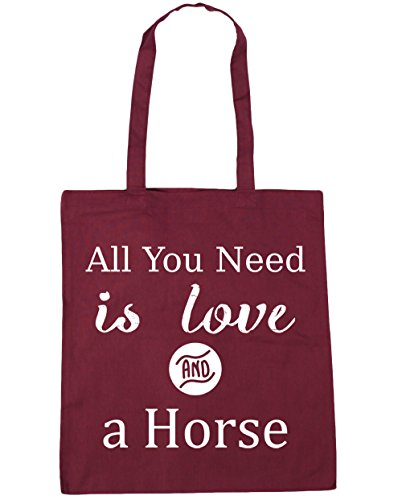 Gym Need litres 10 HippoWarehouse All Shopping Bag You is Beach Tote a 42cm Horse Love and Burgundy x38cm Un1qvnaH