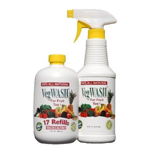 VegWASH Fruit & Vegetable Wash Concentrate & Spray Set - Less Than $0.09 / Oz + Its Organic!