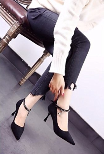 Black MDRW Lady 36 Shoe Work Heels Sharp Buckle Heel Head Suede Leisure One Spring Word Single Elegant Shallow Water Drill 8Cm Mouth Fine rr1dnqwfx