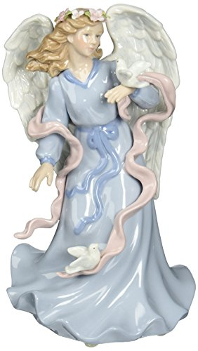 Cosmos 80086 Fine Porcelain Angel Holding Dove Musical Figurine, -