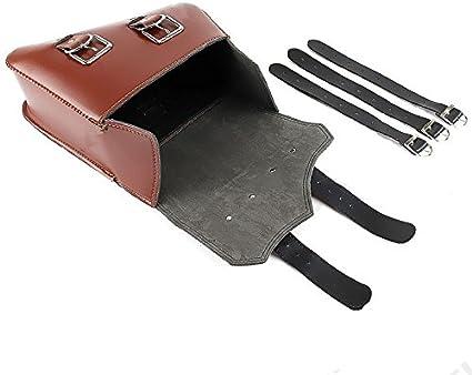 Schwarz PU Leder Werkzeugtasche Gep/äck Satteltasche Cruiser Chopper Bobber Custom Motorrad Braun Schwarz