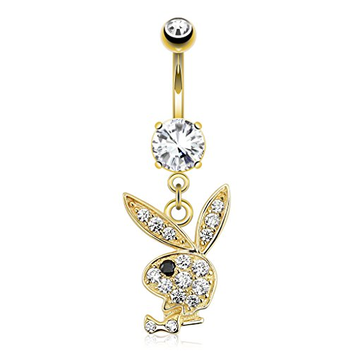 (14K Yellow Gold Pave Set CZ Playboy Bunny Dangle Navel Ring Body Jewelry )