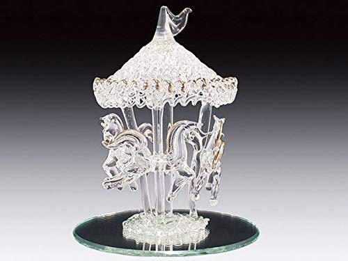 DAR Giftware Blown Glass Carousel with Three Horses Figurine Collectible 5 Inches Tall ()
