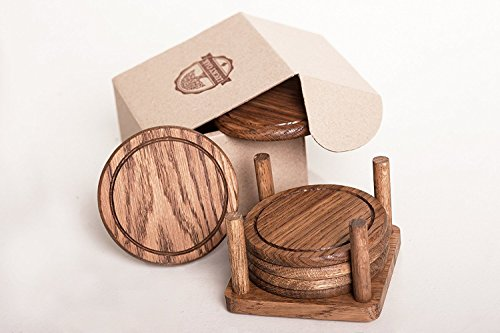 Oak Coaster - Lucky Oak Oak Drink Coasters Set of 6 with Holder - Premium Tabletop Protection (For Wood, Glass, Soapstone, Sandstone, Marble, Stone Tables)
