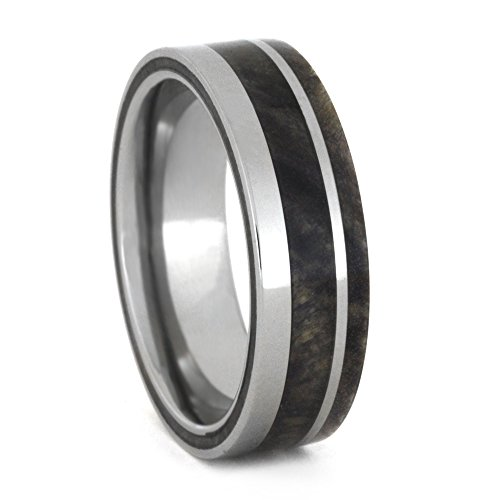 Buckeye Burl Wood 7mm Comfort-Fit Titanium Wedding Band, Size 8.5 by The Men's Jewelry Store (Unisex Jewelry)