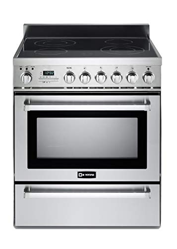 """Verona VEFSIE304PSS 30"""" Freestanding Induction Range Cooktop 4 Zones 3.6 cu. ft.Self-Cleaning Oven with European Convection Black Ceramic Glass Top Warming Drawer Stainless Steel"""
