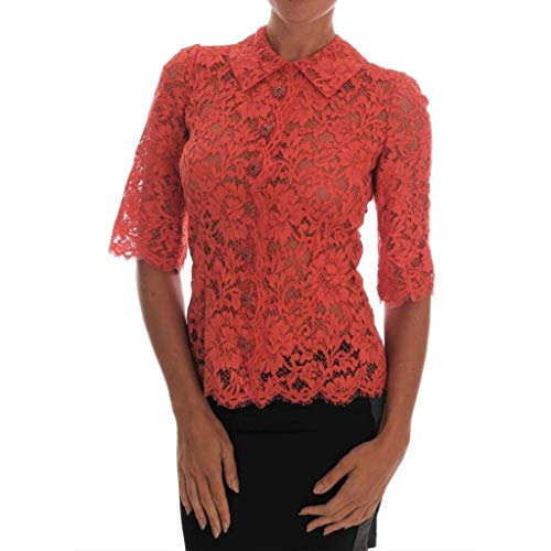- Dolce & Gabbana Orange Crystal Buttons Floral Lace Blouse