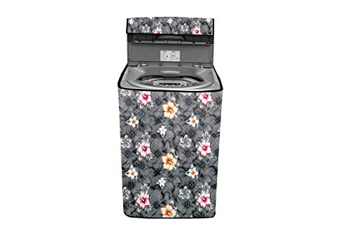 Stylista Washing Machine Cover Compatible for Samsung 7.0 Kg Fully-Automatic Top Loading WA70N4420BS/TL Floral Grey