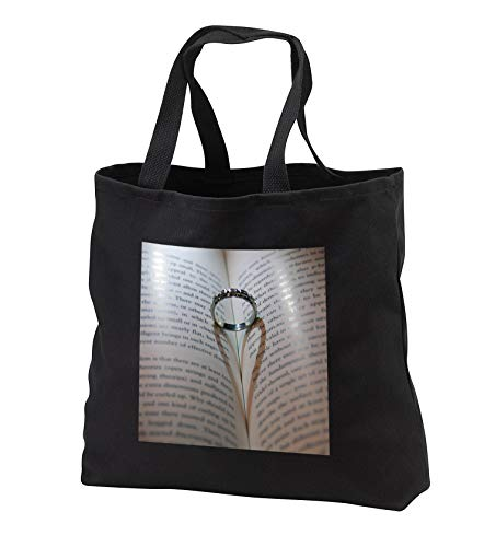 Stamp City - miscellaneous - Photograph of a wedding ring in book where its shadow created a heart. - Tote Bags - Black Tote Bag JUMBO 20w x 15h x 5d (tb_292976_3) by 3dRose